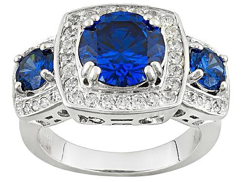 Photo of Bella Luce ® Esotica ™ 5.98ctw Tanzanite & Diamond Simulants Rhodium Over Sterling Silver Ring - Size 7