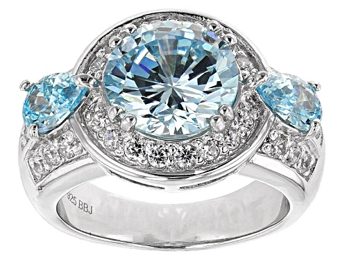 Photo of Bella Luce® Esotica™ 5.78ctw Neon Apatite & Diamond Simulants Rhodium Over Sterling Silver Ring - Size 10