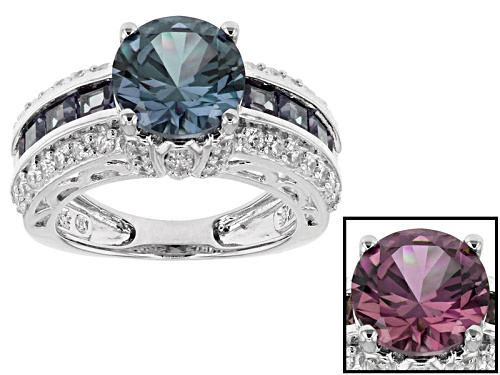 Photo of Bella Luce ® Esotica ™ 4.46ctw Alexandrite And White Diamond Simulants Rhodium Over Silver Ring - Size 8