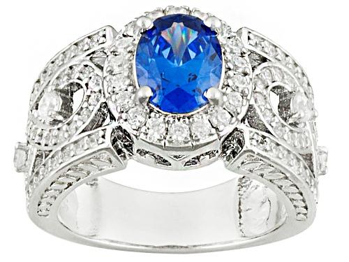 Photo of Bella Luce ® Esotica ™ 2.59ctw Tanzanite & Diamond Simulants Rhodium Over Sterling Silver Ring - Size 8