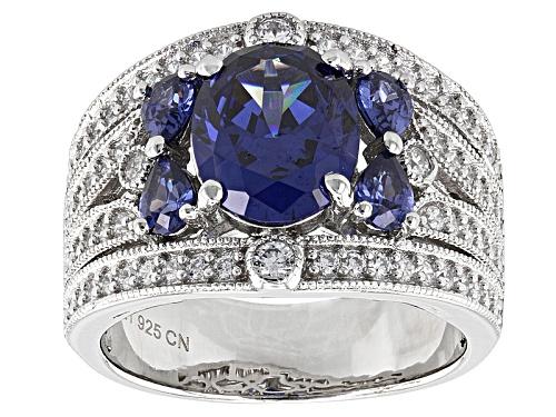 Photo of Bella Luce ® Esotica ™ 5.88ctw Tanzanite & Diamond Simulants Rhodium Over Sterling Silver Ring - Size 7