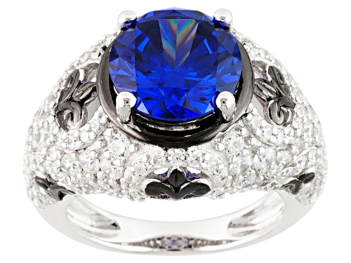 Photo of Bella Luce ® Esotica ™ 9.64ctw Tanzanite And White Diamond Simulants Rhodium Over Sterling Ring - Size 9