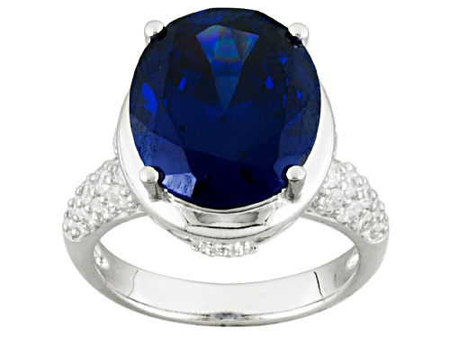Photo of Bella Luce ® Esotica™ 14.87ctw Tanzanite And White Diamond Simulants Rhodium Over Sterling Ring - Size 5