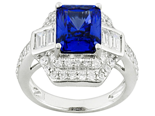 Photo of Bella Luce ® Esotica ™ 8.36ctw Tanzanite And White Diamond Simulants Rhodium Over Silver Ring - Size 7