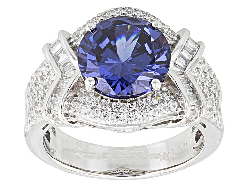Photo of Bella Luce ® Esotica ™ 7.19ctw Tanzanite & Diamond Simulants Rhodium Over Sterling Silver Ring - Size 7