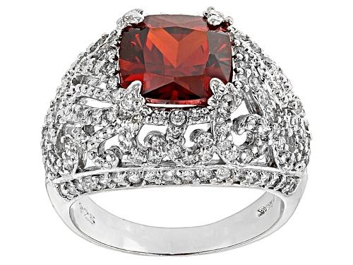 Photo of Bella Luce ® Esotica™ 7.15ctw Spessartite & Diamond Simulants Rhodium Over Sterling Silver Ring - Size 6