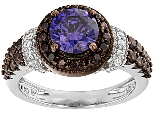 Photo of Bella Luce® Esotica™ 3.55ctw Tanz/White/Mocha Diamond Simulants Rhodium Over Silver Ring - Size 7