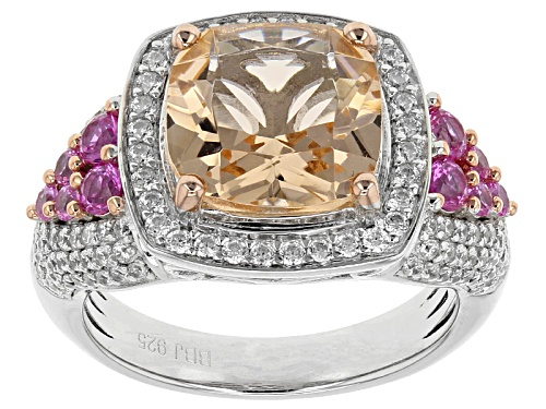 Photo of Bella Luce ® Morganite & Diamond Simulants & Lab Created Pink Sapphire Rhodium Over Sterling Ring - Size 7