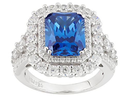 Photo of Bella Luce ® 7.51ctw Sapphire & White Diamond Simulants Rhodium Over Sterling Silver Ring - Size 11
