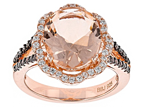 Photo of Bella Luce®Esotica™4.08ctw Morganite & Champagne/White Diamond Simulants Eterno™Rose Ring - Size 10