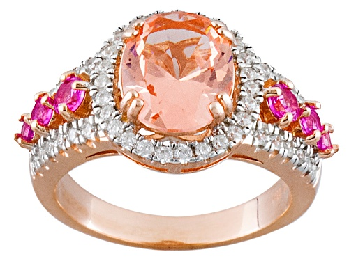 Bella Luce®Esotica™3.95ctw Morganite/Diamond Simulants/Lab Created Sapphire Eterno™Rose Ring - Size 5