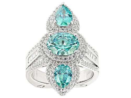 Photo of Bella Luce®Esotica™ 6.84ctw Paraiba Tourmaline & Diamond Simulants Rhodium Over Sterling Ring - Size 6