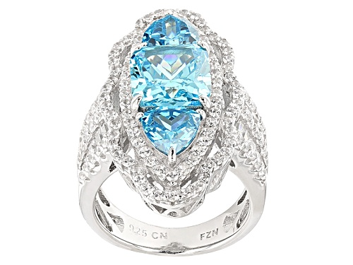Photo of Bella Luce®Esotica ™9.87ctw Neon Apatite And White Diamond Simulants Rhodium Over Sterling Ring - Size 5