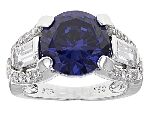 Photo of Bella Luce ® Esotica ™ 10.89ctw Tanzanite & Diamond Simulants Rhodium Over Sterling Silver Ring - Size 5