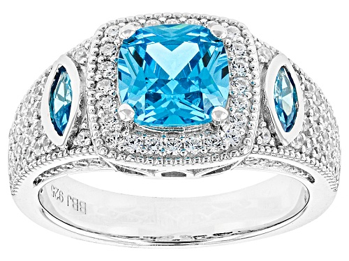 Photo of Bella Luce ® Esotica™ 3.78ctw Neon Apatite & White Diamond Simulants Rhodium Over Sterling Ring - Size 5