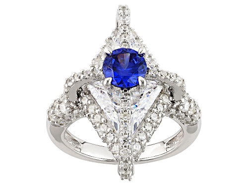 Bella Luce ® Esotica ™ 11.92ctw Tanzanite & Diamond Simulants Rhodium Over Sterling Silver Ring - Size 6