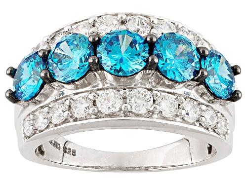 Photo of Bella Luce ® Esotica ™ 5.69ctw Neon Apatite & Diamond Simulants Rhodium Over Sterling Ring - Size 5
