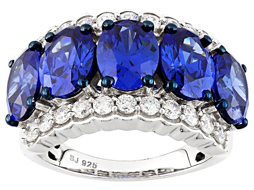 Photo of Bella Luce ® Esotica ™ 11.31ctw Tanzanite & Diamond Simulants Rhodium Over Sterling Silver Ring - Size 7