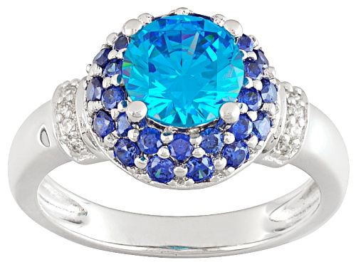 Photo of Bella Luce®Esotica™Neon Apatite, Tanzanite & White Diamond Simulants Rhodium Over Sterling Ring - Size 11