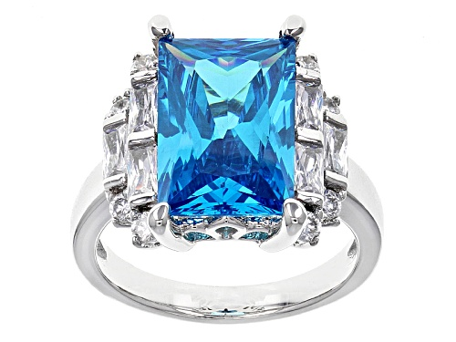 Photo of Bella Luce® Esotica™ 9.65ctw Neon Apatite And White Diamond Simulants Rhodium Over Silver Ring - Size 7