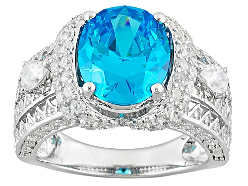 Photo of Bella Luce® Esotica ™ 8.60ctw Neon Apatite & White Diamond Simulants Rhodium Over Sterling Ring - Size 7