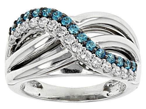 Photo of Bella Luce® Esotica ™ 1.11ctw Neon Apatite & White Diamond Simulants Rhodium Over Sterling Ring - Size 6