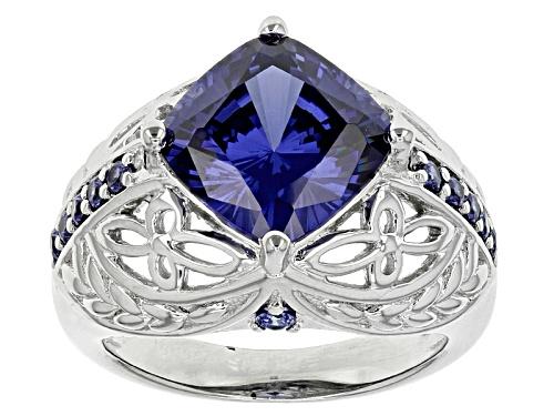 Photo of Bella Luce ® Esotica ™ 7.90ctw Tanzanite & White Diamond Simulants Rhodium Over Sterling Ring - Size 5