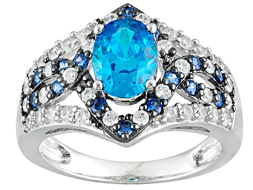 Photo of Bella Luce®Esotica™ Neon Apatite/Tanzanite/White Diamond Simulants Rhodium Over Sterling Ring - Size 10
