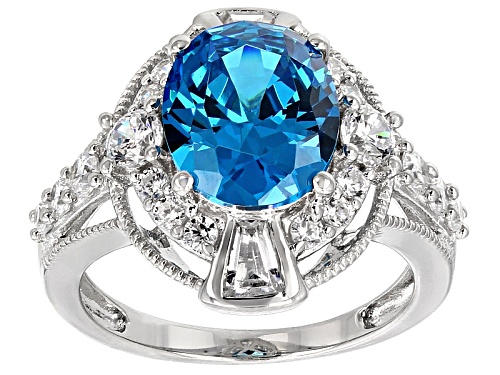 Photo of Bella Luce® Esotica ™ 8.44ctw Neon Apatite & White Diamond Simulants Rhodium Over Sterling Ring - Size 12