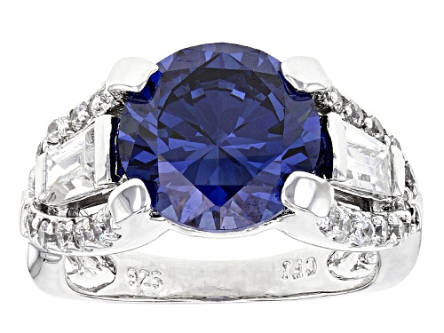 Photo of Bella Luce® Esotica ™ 10.94ctw Tanzanite And White Diamond Simulants Rhodium Over Sterling Ring - Size 10