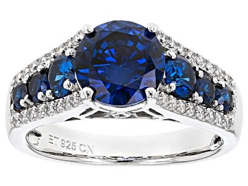 Photo of Bella Luce ® Esotica ™ 5.07ctw Tanzanite And White Diamond Simulants Rhodium Over Sterling Ring - Size 11