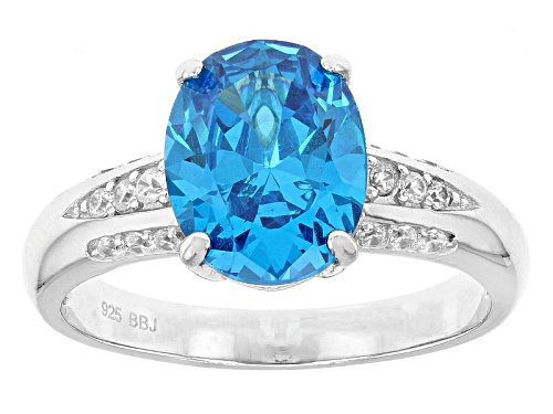 Photo of Bella Luce® Esotica ™ 4.30ctw Neon Apatite & White Diamond Simulants Rhodium Over Sterling Ring - Size 12