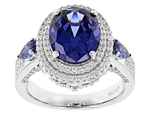 Photo of Bella Luce ® Esotica ™ 8.03ctw Tanzanite And White Diamond Simulants Rhodium Over Sterling Ring - Size 5