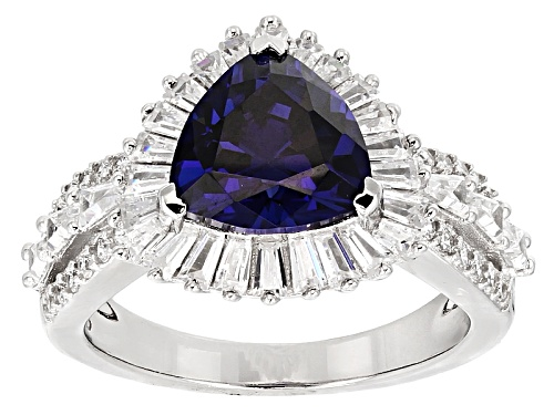 Photo of Bella Luce ® Esotica ™ 5.74ctw Tanzanite & White Diamond Simulants Rhodium Over Silver Ring - Size 9