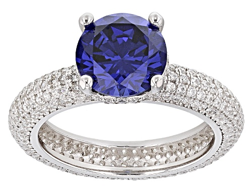 Photo of Bella Luce ®Esotica ™ 18.64ctw Tanzanite And White Diamond Simulants Rhodium Over Sterling Ring - Size 8