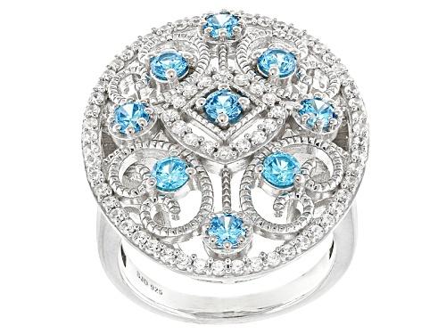 Photo of Bella Luce® Esotica™ 2.70ctw Neon Apatite & White Diamond Simulants Rhodium Over Silver Ring - Size 5