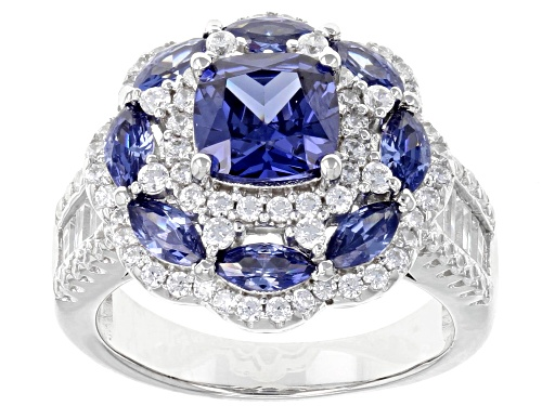 Photo of Bella Luce ® 5.86CTW Esotica ™ Tanzanite & White Diamond Simulants Rhodium Over Sterling Silver Ring - Size 7