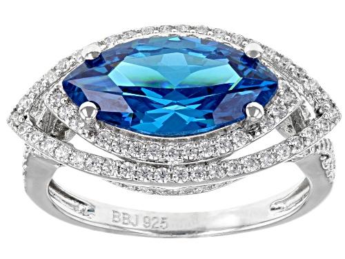 Photo of Bella Luce ® 6.48CTW Esotica ™ Neon Apatite & White Diamond Simulants Rhodium Over Silver Ring - Size 5