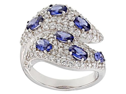 Photo of Bella Luce ® 4.85CTW Esotica ™ Tanzanite & White Diamond Simulants Rhodium Over Silver Ring - Size 7