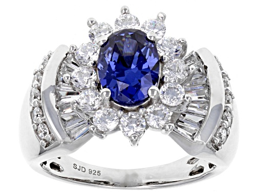 Photo of Bella Luce ® Esotica ™4.30CTW Tanzanite & White Diamond Simulants Rhodium Over Silver Ring - Size 10