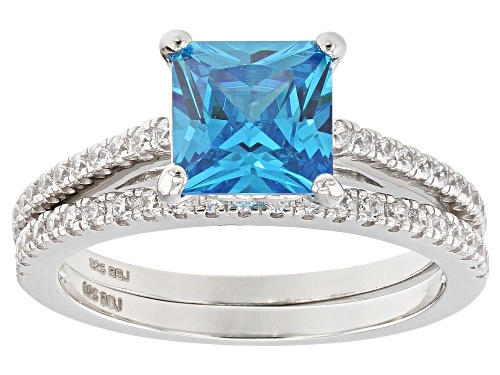 Photo of Bella Luce®3.22CTW Esotica™Neon Apatite & White Diamond Simulants Rhodium Over Silver Ring With Band - Size 12