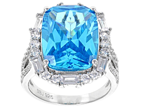 Photo of Bella Luce ® 19.56CTW Esotica ™ Neon Apatite & White Diamond Simulants Rhodium Over Silver Ring - Size 7