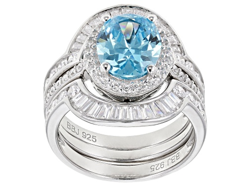 Photo of Bella Luce®6.90CTW Esotica™Neon Apatite &White Diamond Simulants Rhodium Over Silver Ring With Bands - Size 7