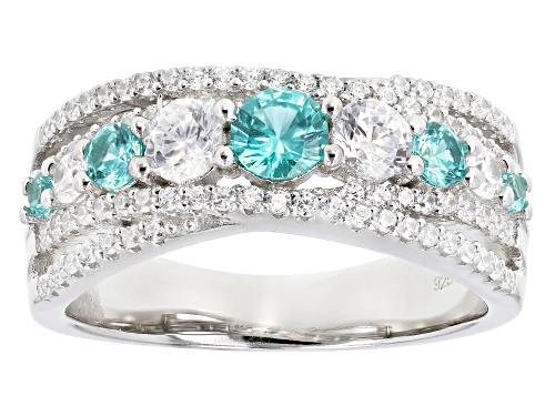 Photo of Bella Luce ® 1.93CTW Esotica ™ Paraiba Tourmaline & White Diamond Simulants Rhodium Over Silver Ring - Size 12