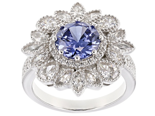 Photo of Bella Luce ® 6.48CTW Esotica ™ Tanzanite & White Diamond Simulants Rhodium Over Silver Ring - Size 7