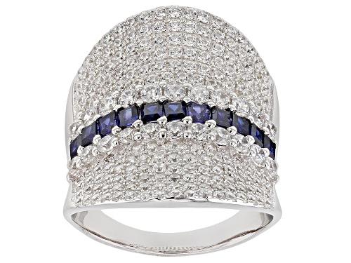 Photo of Bella Luce ® 4.78CTW Esotica ™ Tanzanite And White Diamond Simulants Rhodium Over Silver Ring - Size 7
