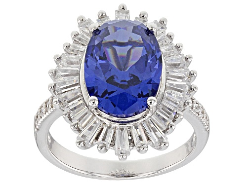 Photo of Bella Luce ® 7.59CTW Esotica ™ Tanzanite And White Diamond Simulants Rhodium Over Silver Ring - Size 12