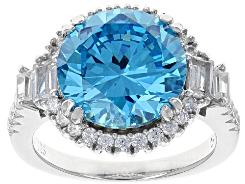 Photo of Bella Luce ® 12.94CTW Esotica ™ Neon Apatite & White Diamond Simulants Rhodium Over Silver Ring - Size 7