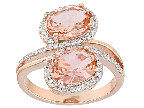 Photo of Bella Luce ® 3.94CTW Esotica ™ Morganite And White Diamond Simulants Eterno ™ Rose Over Silver Ring - Size 7