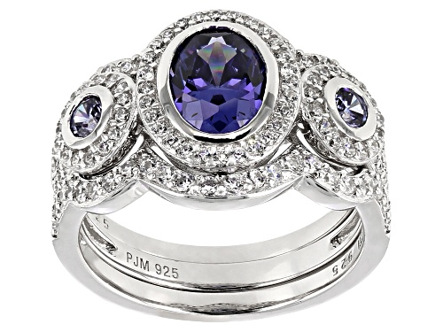 Photo of Bella Luce®3.24CTW Esotica™ Tanzanite & White Diamond Simulants Rhodium Over Silver Ring With Bands - Size 10